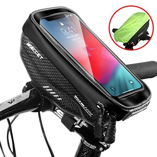 WILD MAN Bolsa Manillar Bici Impermeable Bolsa Tubo Bicicleta con Pantalla Táctil Bolsa Marco Bicicleta Funda Movil Bici para iPhone XS MAX/XR/X/8Plus Samsung S9/S8 hasta 6,5'' Smartphone, Negro