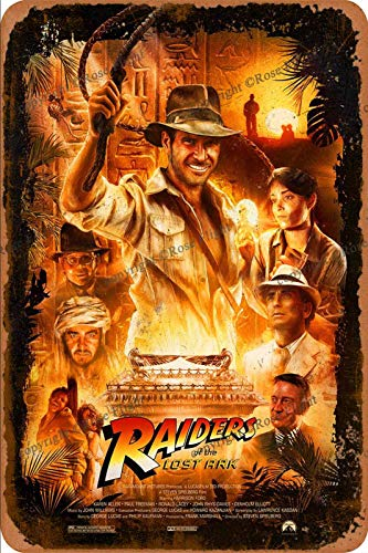 Raiders of The Lost Indiana Jones Han Poster Cartel de Chapa Retro, Cartel de Pared, Placa de Metal Vintage, Garaje, Oficina, Bar, cafetería, decoración, 20 × 30 cm