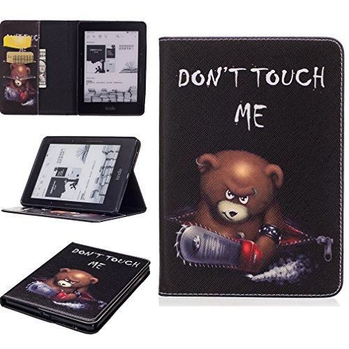 LMAZWUFULM Hülle für Amazon Kindle Voyage 3G 6,0 Zoll PU Leder Mode Lederhülle Wütender Bär Muster Standfunktion Schutzhülle Ledertasche Flip Cover für Kindle Voyage