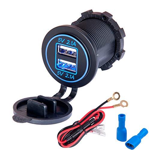 JTENG Auto USB Steckdose Kfz Ladegerät Buchse 12V Wasserdicht Dual USB Kfz Ladebuchse mit 60cm-Kabel Dual-Ladeanschlüsse für 12-V-Auto-Wohnmobil-Boot-Wohnmobil-Motorrad-Mobil (Schwarz)