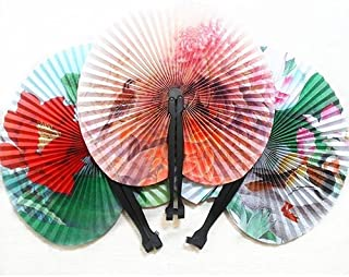 ruiycltd 3Pcs Foldable Chinese Oriental Floral Paper Hand Fans Wedding Table Favors