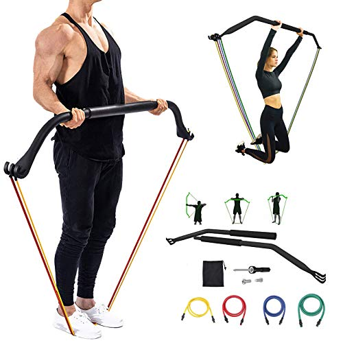 Heavy Resistance Bands,Bow Home Gym Ab Workout Equipment Resistance Training with 4 Resistance Bands Training bar for Full-Body Workout Easy Setup Gym Home Outdoors Resistance Band