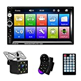 NHOPEEW Radio de Coche 2 DIN con 7 Pulgadas Pantalla Táctil MP5 Bluetooth Multimedia Incorporado Autoradio FM/ AUX/ USB / SD + Cámara de visión Trasera/Control del Volante