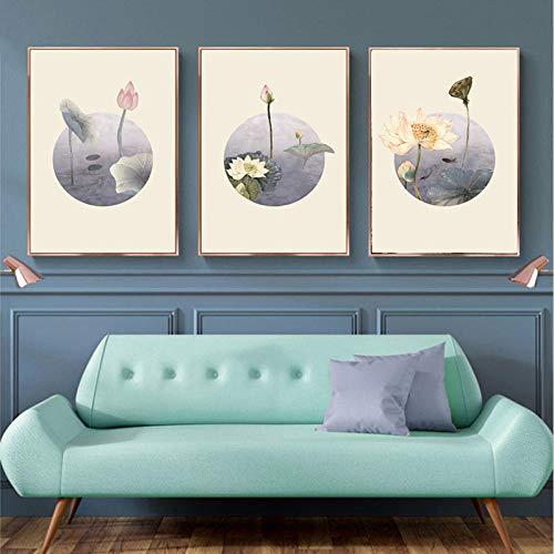 Chinesische Art Lotus Dekoration Poster kann Home Decoration Leinwand Malerei HD-Druck -40x60cmx3 (kein Rahmen) Sein