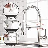 Timaco - Rubinetto da cucina con molla a spirale, rubinetto e doccetta estraibile, orientabile a 360°, in nichel spazzolato, miscelatore monoleva e spray pull-down, miscelatore ad alta pressione