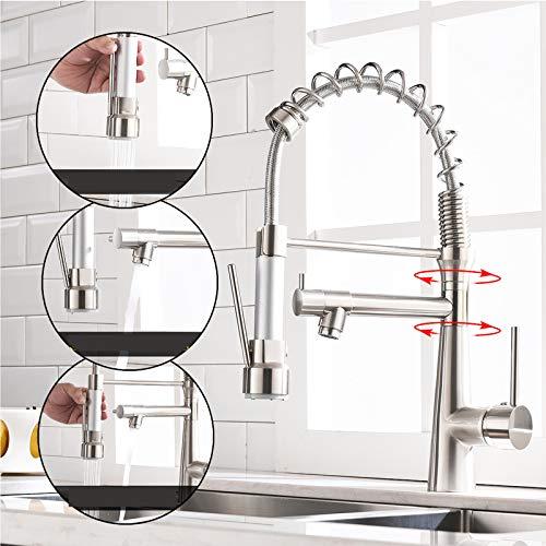TIMACO Küchenarmatur mit Spiralfeder, Wasserhahn & Brause ausziehbar - 360° schwenkbar - gebürstetes Nickel - Einhebel Mischbatterie & Pull-Down-Spray - Hochdruck Spültischarmatur