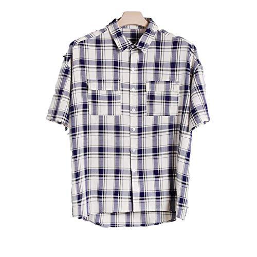 Camisa a Cuadros de Color en Contraste para Hombre Costura de Dos Bolsillos Streetwear Camisa básica de Manga Corta con Solapa Informal Relajada L
