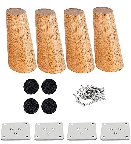 RHUAFET Holz Tischbeine, 4 Stück 15cm Holzfüße Möbelfüße Sofafüße für Schrank, Sofa, Couchtisch, TV-Schrank und andere Möbelbeine(15CM)