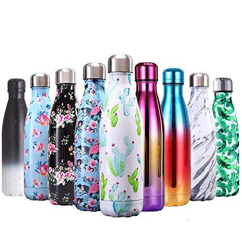QXuan Botella de agua aislada de acero inoxidable al vacío, botella térmica de doble pared de 500 ml, mantiene bebidas calientes y frías para deportes al aire libre, ciclismo y viajes (Cactus)