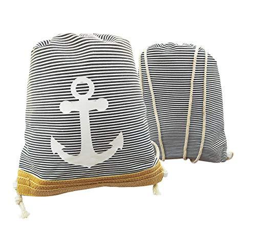 Mochila de Cuerdas a Rayas Unisex Estilo Marinero. Mochila de Cuerda, Bolso Casual Ideal para Deportes, Gimnasio, Playa y Piscina