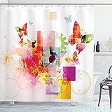 N\A Abstrakter Duschvorhang, natürliches Design mit Blumen Blätter Quadrate R&en Kreise Kunstwerk Bild Kunstdruck, Stoff Stoff Badezimmer Dekor Set mit Haken, Pink Orange
