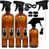 7 Amber Glass Spray Bottles, 2 Pack 16 Ounce Empty Amber Spray Bottles, 1 Pack 8 Ounce Amber Spray...
