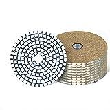 CROWNXZQ 10 Winkelschleifschaber, Körnung 4'3000, Diamant-Wet-Pad-Haken und Ringbeflockung, für Marmor-Granit-Keramik, Winkelschleifer-Politur