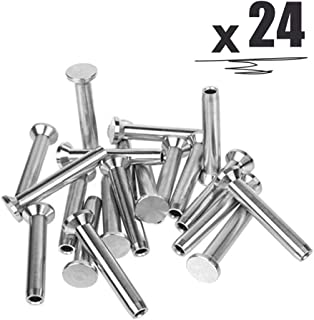 """24PCS Stainless Steel Fixed Ends Stemball Swage Stud Dead Ends Hardware Kit for 1/8"""" Wire Rope Cable Railing, T316 Marine Grade"""