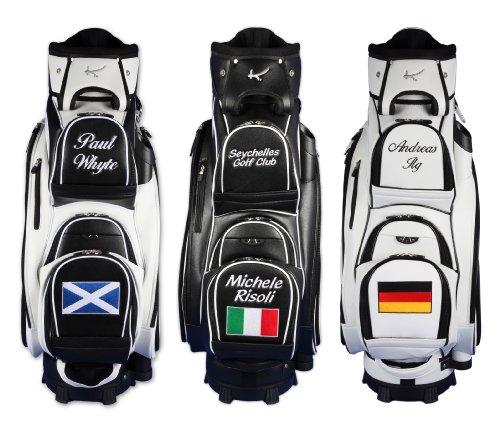 """Personalizada: Bolsa de golf de carro 9.5"""" MADEIRA """"nombre/bandera"""" en negro"""