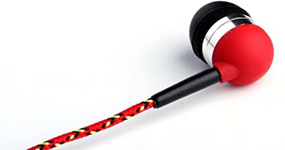Tweedz Durable, Tangle-Free Red Earbuds - In Ear Stereo Headphones with 100% Nylon Braided Fabric Wrapped Cords and Noise Isolating Ear Buds