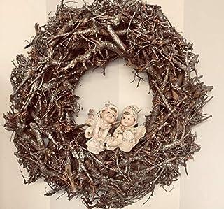 Maxi ghirlanda natalizia con rametti in legno glitterato ed elfi
