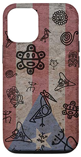 iPhone 12/12 Pro Simbolos Tainos En Piedra Bandera de Puerto Rico Boricua Case