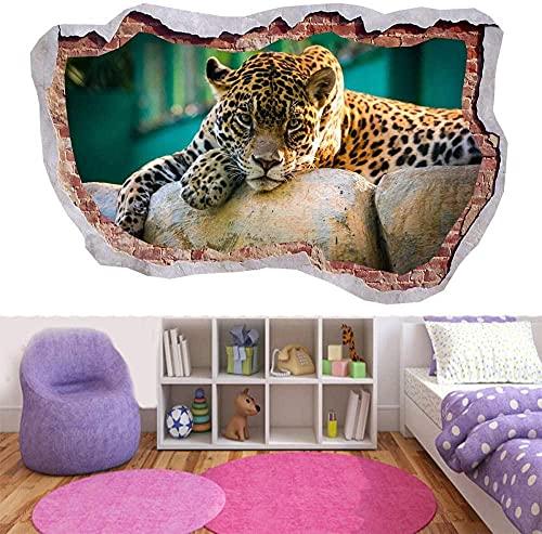 Leopardo Cheetah Tigre Animal Jungle 3D Smashed Wall Decal Ver Arte Mural mural cartel papel tapiz 60x90CM