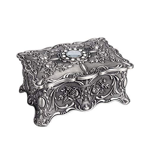 Feyarl Vintage Trinket Jewelry Box Treasure Organizer Keepsake Box Ornate Antique Finish Engraved with 2 Layers Dividers Inside (Pewter)