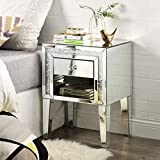 Mirrored Nightstand with Crystal Diamond Inlay, Silver Mini Cabinet with One Drawers, End Table for Bedroom Living Room from Mireo Furniture