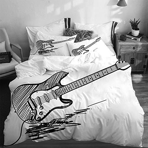 LASINSU Funda De Edredón,Guitarra eléctrica de Estilo Dibujado a Mano sobre Fondo...