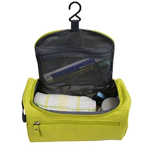 Portatile impermeabile toilette sacchetto appeso Travel Beauty Case da viaggio Unisex adulti Organizer Cosmetic Bag(Chartreuse)