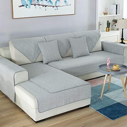 DW&HX 100% Baumwolle Anti-rutsch-Sofa slipcovers, 1-teilige Sofabezug Handtuch Schmutz-Beweis Möbel-Protector für Hund Kinder Sofa slipcover -Hellgrau 24x24inch(60x60cm)
