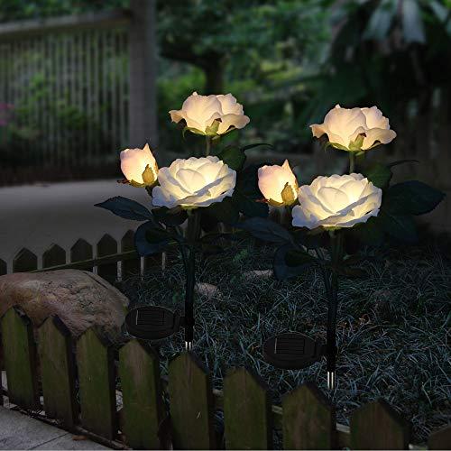 2 X Solarleuchten Außen Garten Farbwechsel LED Rose Lichter Edelstahl Stecker Solarlampe Wasserdicht für Gartenterrasse Hinterhof Pathway Einfahrt Dekoration (Weiß)