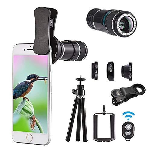 NNBB 4-en-1 Bluetooth Selfie, HD 12x óptico del telescopio del zumbido de la Lente del trípode para la mayoría de los teléfonos móviles
