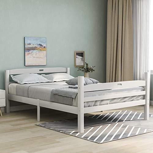 Doppelbett Bett 140x200 CM mit Lattenrost Bettgestell Weiß Seniorenbett Holzbett aus Naturholz Jugendbett