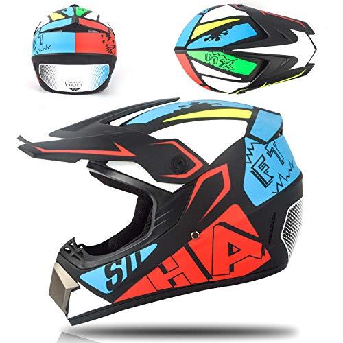 Motorfiets off-road helm kinderen en adolescenten elektrische helm skelter helm-rood blauw Licht, comfortabele en veilige helm_S