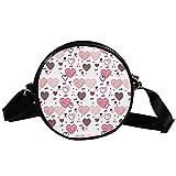 Bolso cruzado redondo pequeño bolso de las señoras de la manera bolsos de hombro bolso de mensajero bolsa de lona bolsa de cintura accesorios para las mujeres - amor corazones patrón rosa
