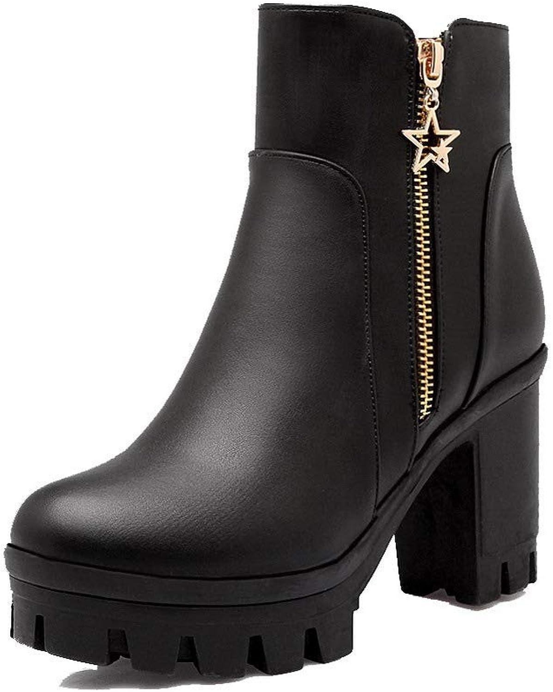 AllhqFashion Women's Solid Pu High-Heels Zipper Closed-Toe Boots, FBUXD117683