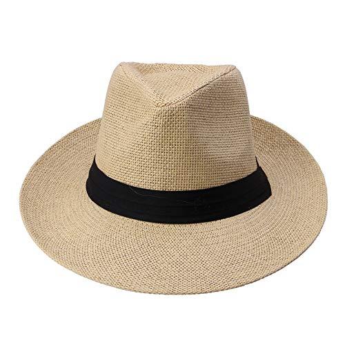 Strandhut Hot Fashion Sommer Lässig Unisex Beach Trilby Jazz Mit Großer Krempe Sonnenhut Panamahut Papierstroh Frauen Männer Mütze Mit Schwarzem Band