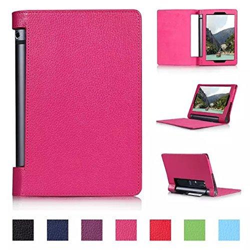 Tsmine Lenovo Yoga Tablet 2 8 8,0-Zoll-830F Flip Case - Auto Sleep & Wake up dünne magnetische Smart Cover Folio Schutz-PU-Leder-Standplatz -Fall (Nur Fit Lenovo Yoga Tablet 2 8-Inch), Hot Pink