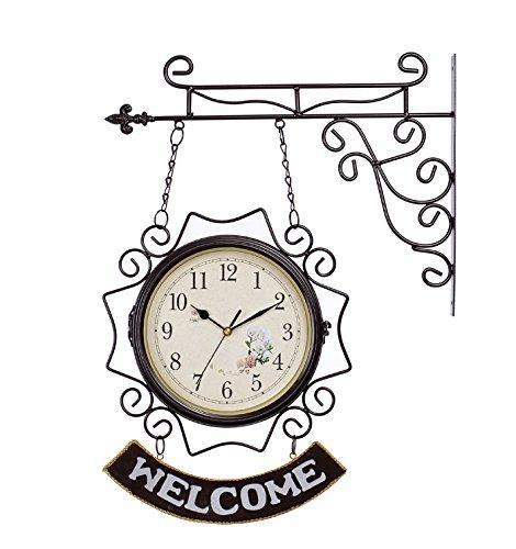 FUHOAHDD Mittelmeer-Stil willkommen, schmiedeeisernen Doppelwanduhr, ruhiges Haus Dekoration Uhr Widget, 10 inches