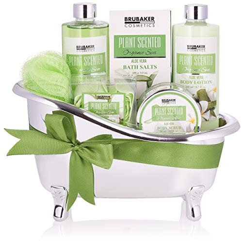 BRUBAKER Cosmetics Bade- und Dusch Set Aloe Vera - 7-teiliges Geschenkset in dekorativer Wanne
