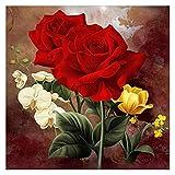 DIY Diamante Pintura Rose Taladro Completo de la Pintura de Flores con los Diamantes del Arte del Diamante de Imagen Kits de Bordado Artes for decoración de la Pared 30x40cm Red Rose ZSH 9-25