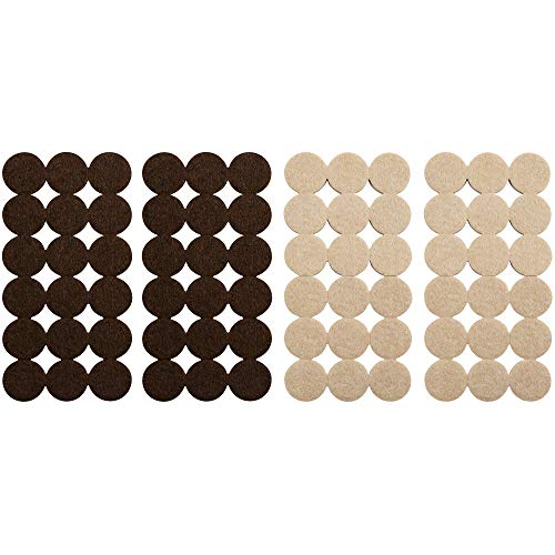 Softtouch 4771595N Self-Stick 1 Inch Felt Furniture Pads to Protect Hardwood Flooring from Scratches, 72 Piece Value Pack, Oatmeal-Brown