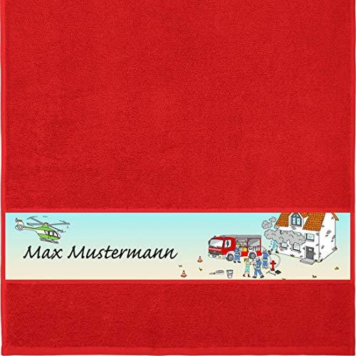 Manutextur Handtuch mit Namen - Motiv Kinder - Feuerwehr - viele Farben & Motive - personalisiert - rot - Größe 50x100 cm - persönliches Geschenk