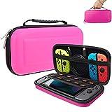 Suhctup Funda para interruptor, con 10 soportes de cartuchos de juego, funda protectora portátil de viaje para consola Nintendo Switch y accesorios (rosa)