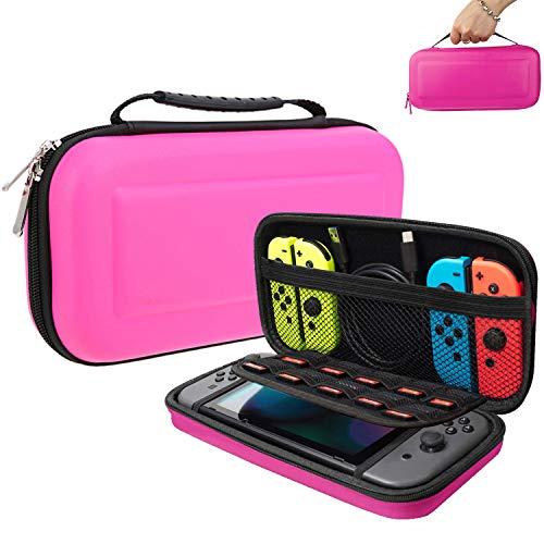 Oihxse Etui pour Nintendo Switch - Pochette Portable Coque Rigide en EVA Protection Zippée Durable Anti-Choc Etanche Accessoires Peut contenir 10 Cartes de Jeu Cartes SD pour Switch (Rose)