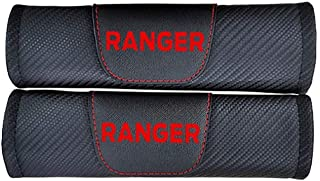 Protezioni Comfort Cintura Sicurezza Auto QYHL 2 Pezzi Fibra di Carbonio Imbottiture Cinture Sicurezza per Ford ECOSPORT con Logo Car Seat Belt Shoulder Pads