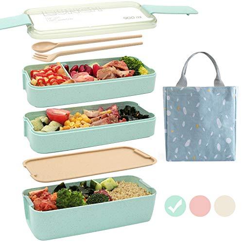 Ozazuco Bento Box Japanese Lunch Box,3-In-1 Compartment...