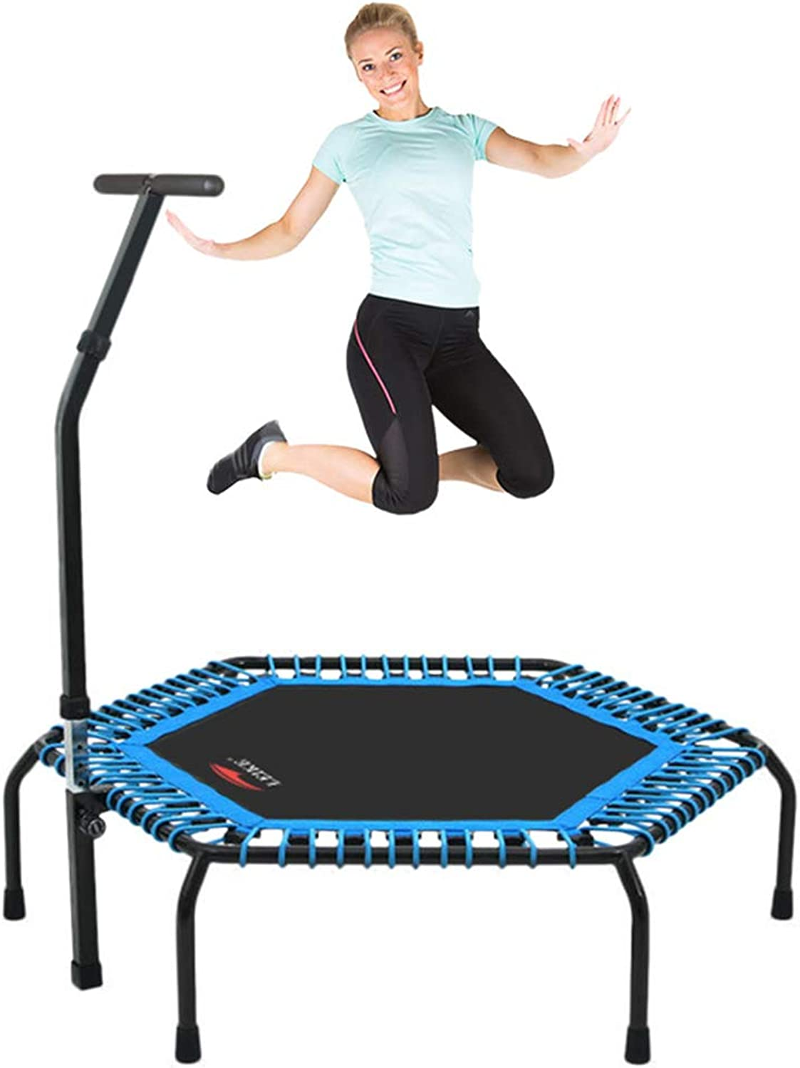 Fitness Trampolines Trampoline Bouncers Jump Trampoline Indoor and Outdoor Fitness Equipment with Armrests Gift for Family Kids ToysBearing Weight 150kg (color   Black, Size   140cm)
