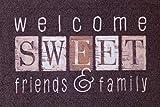 Felpudo de oKu-Tex | Felpudo Deco-Style Entrance | Welcome Friends & Family | impresión Multicolor | para Interior | Entrada/Puerta de casa / escaleras | Antideslizante | 50 x 80 cm