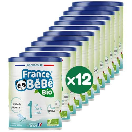 FRANCE BéBé BIO - Lait infantile pour bébé 1er âge en poudre 0 à 6 mois - Lait fabriqué en France - BIFIDUS - SANS HUILE DE PALME - Pack 12 boîtes de 400g