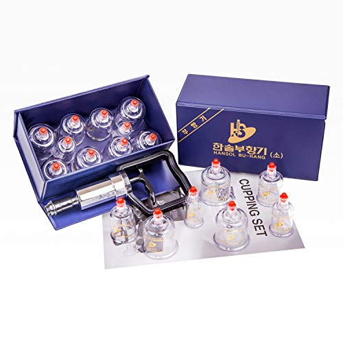 Hansol Professional Cupping Therapy Equipment Set with pumping handle 10 Cups & English Manual (Made...