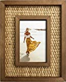 Fairwood Way Rattan and Wood Picture Frame - Boho or Coastal or Beach Photo Frame - Tabletop Stand and Wall Mount… (4' x 6' Opening)